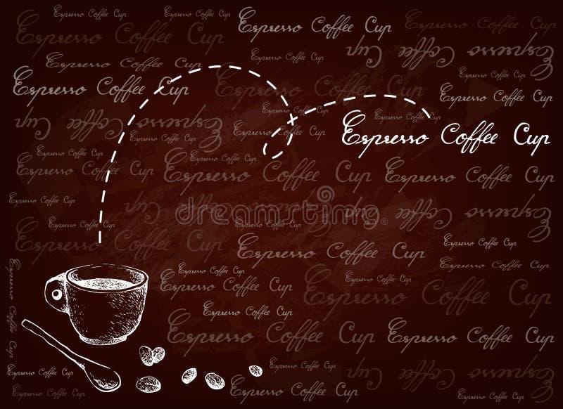 Fond tiré par la main de café d'expresso avec les haricots rôtis illustration libre de droits
