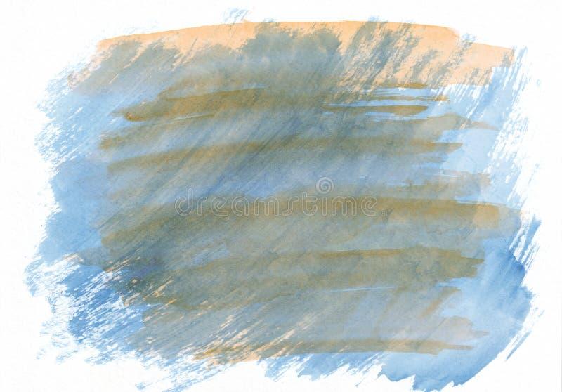 Fond tiré par la main de gradient horizontal bleu-clair et orange d'aquarelle Il ` s utile pour la conception graphique, contexte illustration libre de droits