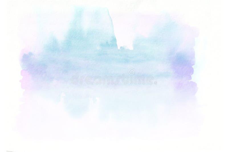 Fond tiré par la main de gradient horizontal bleu et rose d'aquarelle La partie inférieure est plus légère que d'autres côtés d'i images libres de droits