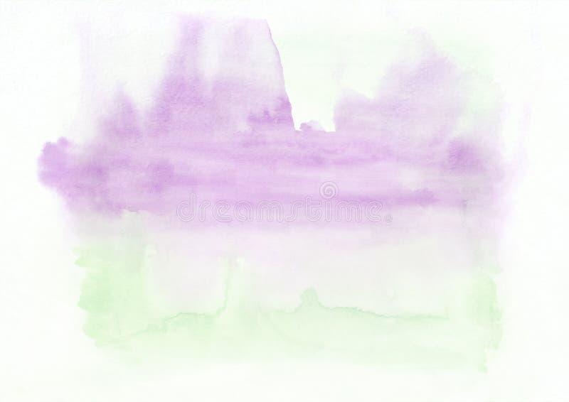 Fond tiré par la main de gradient horizontal d'aquarelle de vert et de rose La partie supérieure est plus légère que d'autres côt illustration de vecteur