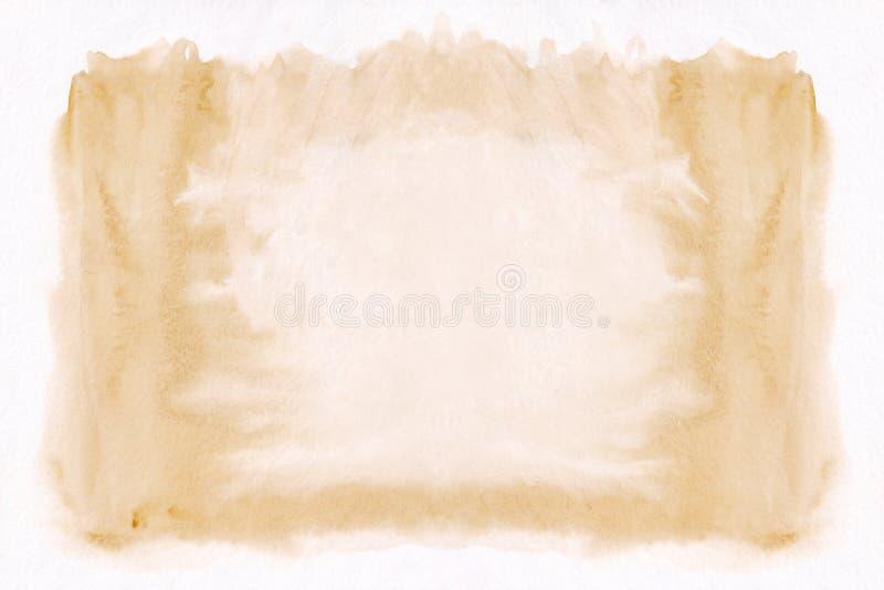 Fond tiré par la main de gradient horizontal orange-clair d'aquarelle La partie moyenne est plus légère que d'autres côtés d'imag illustration de vecteur