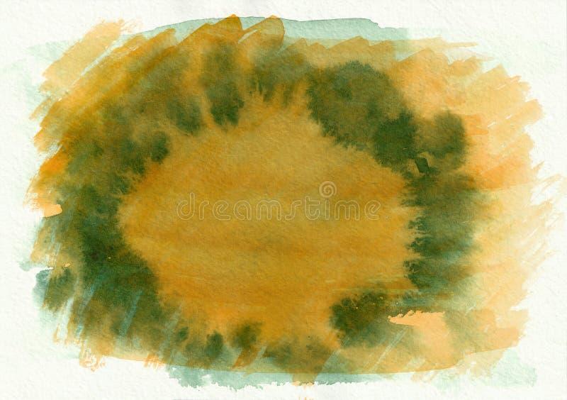Fond tiré par la main de gradient horizontal vert et orange d'aquarelle La partie moyenne est plus légère que d'autres côtés d'im illustration stock
