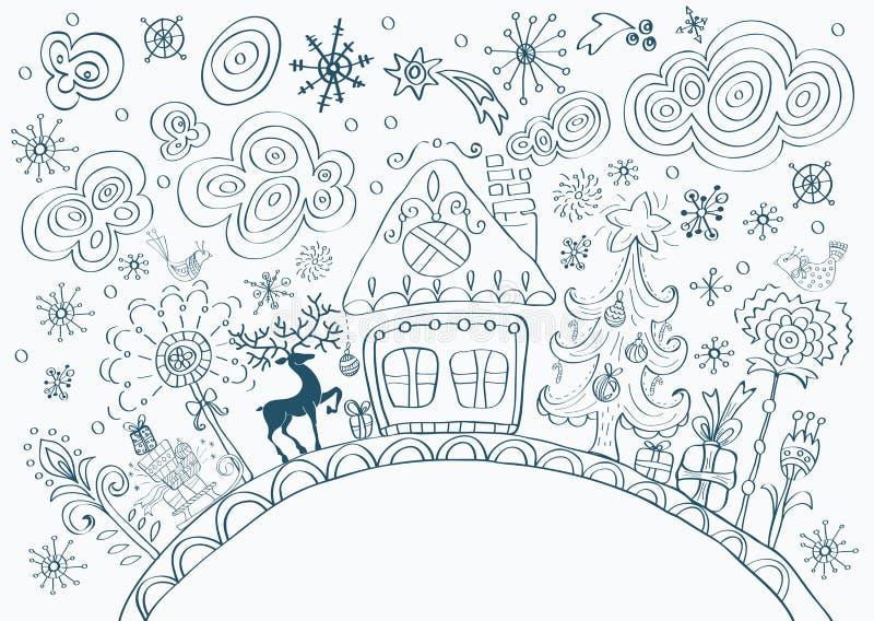 Fond tiré par la main de griffonnage de Noël illustration stock