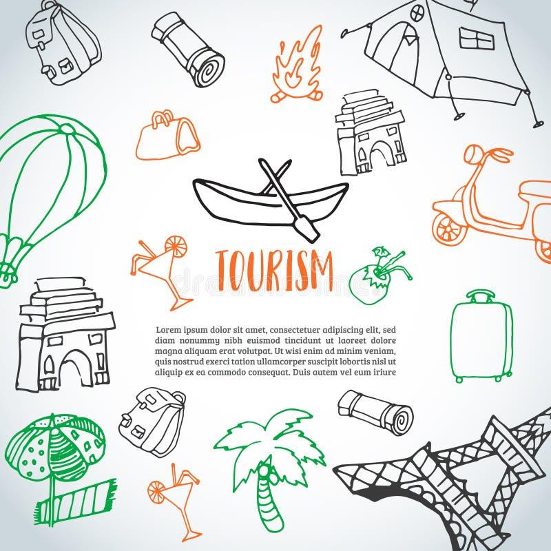Fond tiré par la main de griffonnage de voyage Croquis de tourisme et d'été avec les éléments de déplacement : bagages, Tour Eiff illustration stock