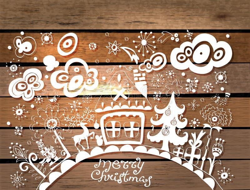 Fond tiré par la main de Noël illustration libre de droits
