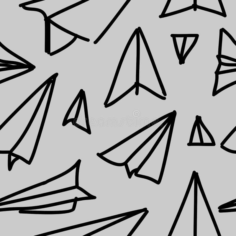 Fond tiré par la main de papier de modèle d'avion sans couture Enfants élégants dessinant la forme répétée illustration libre de droits