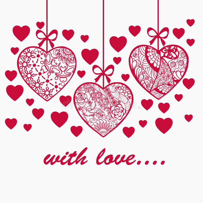 Fond tiré par la main de Saint Valentin romantique illustration libre de droits