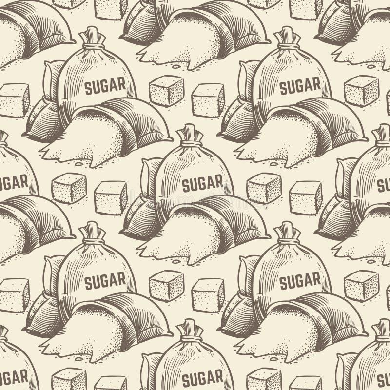 Fond tiré par la main de sucre dans des couleurs de sépia illustration stock