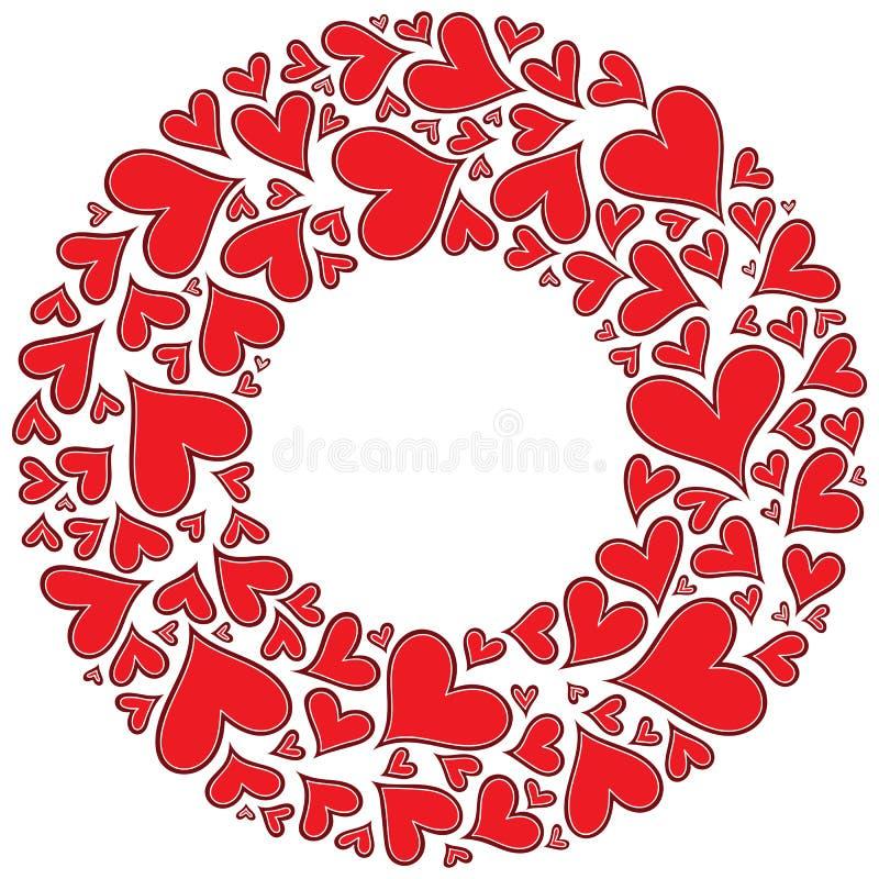 Fond tiré par la main de vecteur de Saint-Valentin avec le coeur illustration stock