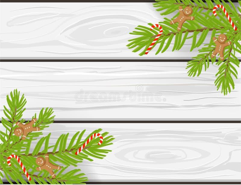 Fond tiré par la main de vecteur de Noël, texture en bois blanche avec des branches d'arbre de chritmas, candycanes et bonhommes  illustration de vecteur