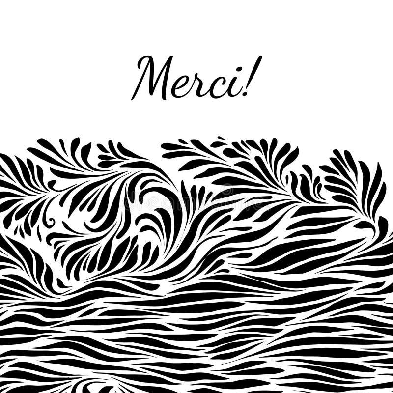 Fond tiré par la main noir et blanc de merci illustration de vecteur