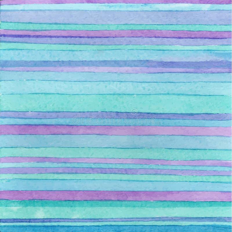 Fond tiré par la main rayé d'aquarelle Version de vecteur couleurs bleues Technique tirée par la main illustration de vecteur
