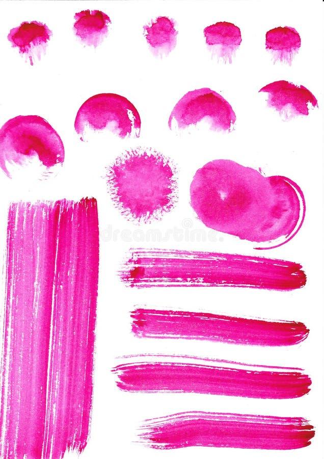 Fond tir? par la main d'aquarelle Cercles joyeux de couleur de rose les beaux conçoivent l'élément illustration stock
