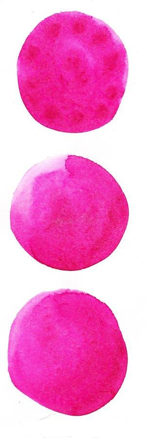 Fond tir? par la main d'aquarelle Cercles joyeux de couleur de rose les beaux conçoivent l'élément illustration de vecteur