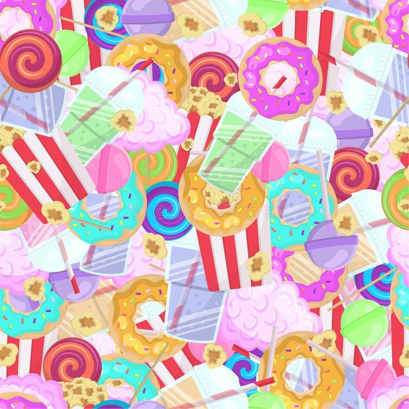 Fond très lumineux avec des bonbons, lucettes, smoothies, butées toriques photo libre de droits