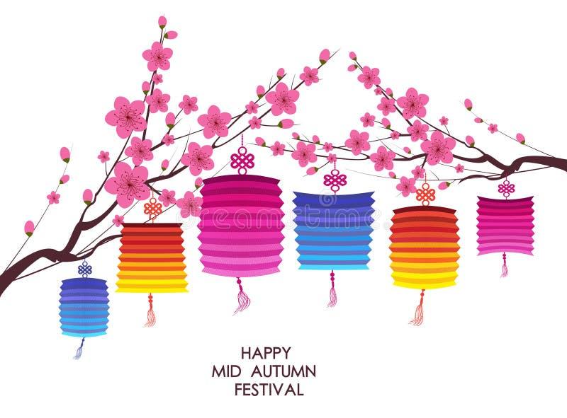 Fond traditionnel pour des traditions de mi festival chinois d'Autumn Festival ou de lanterne illustration de vecteur