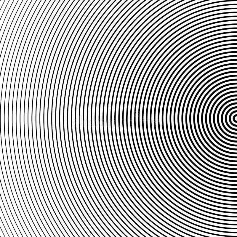 Fond tramé abstrait de cercle L'image tramée raye le vecteur Rayures noires sur le fond blanc illustration stock