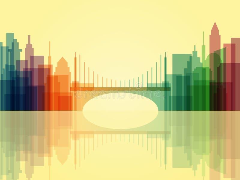 Fond transparent élégant de paysage urbain avec le pont illustration stock