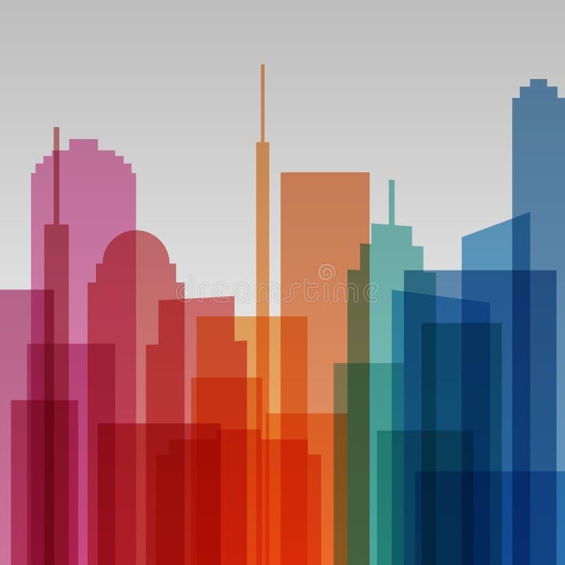 Fond transparent coloré de paysage urbain, architecture moderne illustration de vecteur