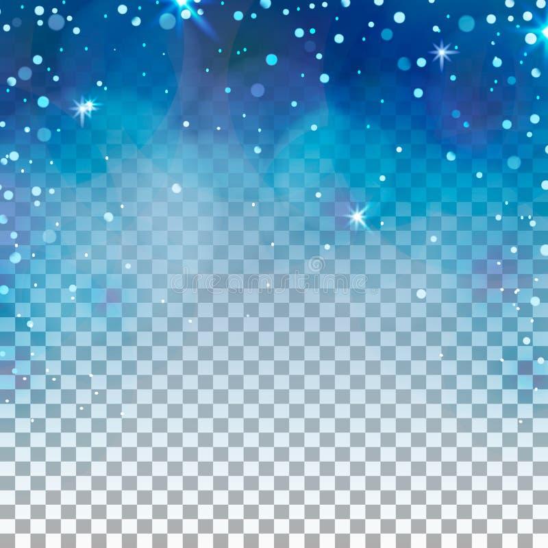 Fond transparent d'hiver Lumière et flocons de neige bleus images stock