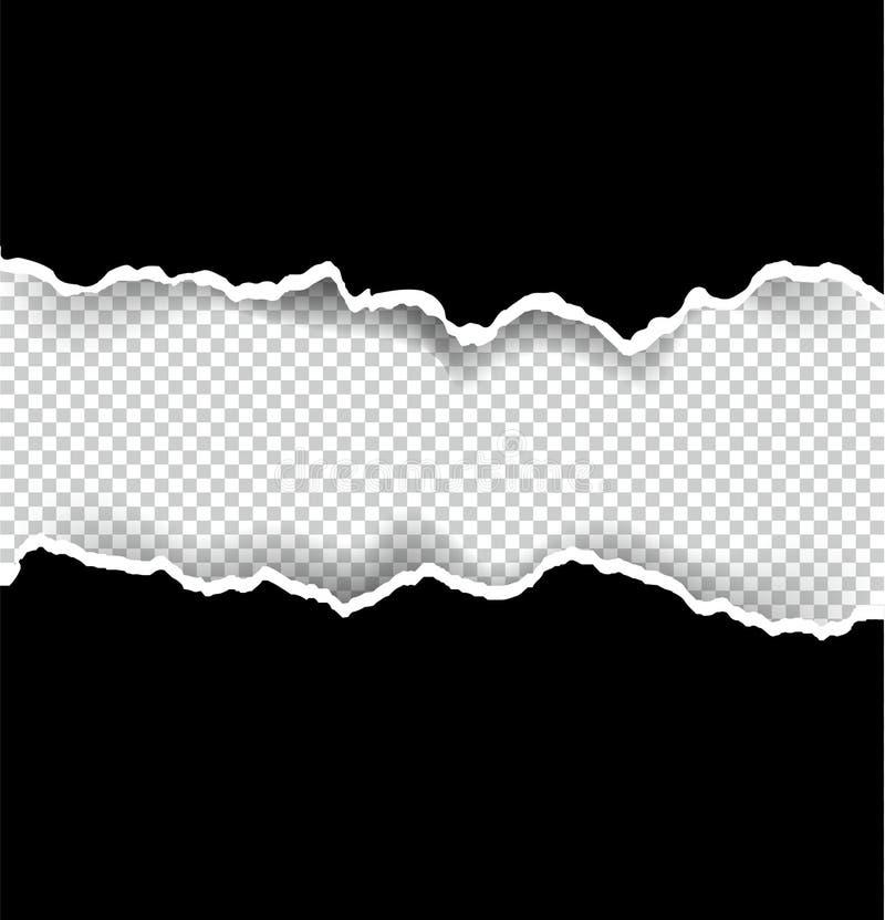Fond transparent et noir de papier déchiré avec l'espace pour le texte, l'art de vecteur et l'illustration illustration libre de droits