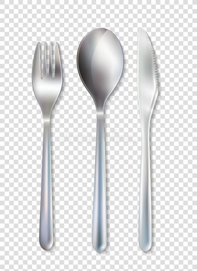 Fond transparent réglé de vaisselle inoxydable de couverts illustration de vecteur