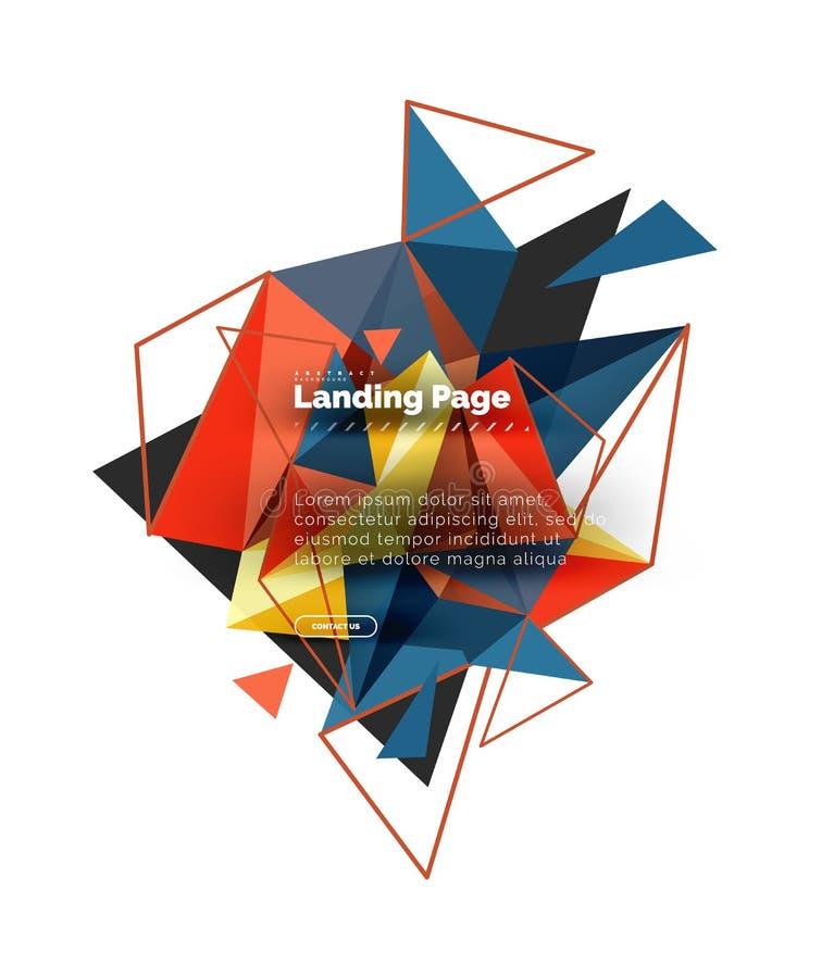 Fond triangulaire d'abrégé sur conception, page de débarquement Triangles colorées de bas poly style sur le blanc illustration stock