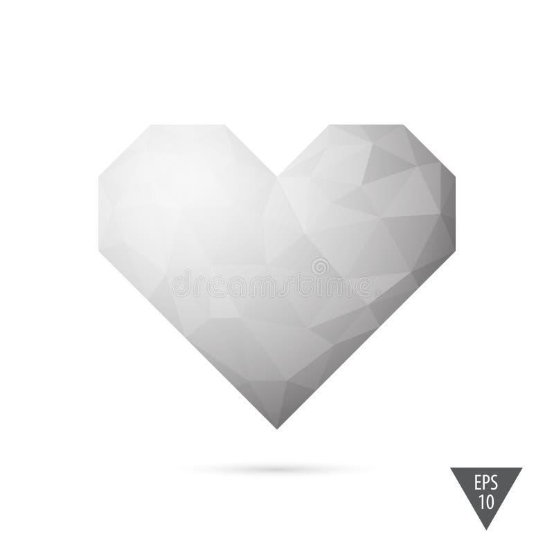 Fond triangulaire de vecteur de style de coeur bas poly illustration de vecteur