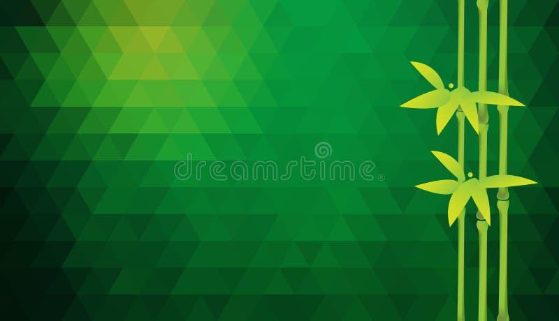 Fond triangulaire de vert de vecteur avec les troncs en bambou illustration libre de droits