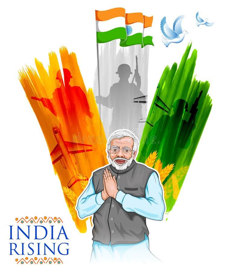 Fond tricolore de drapeau d'Inde avec les personnes indiennes fières illustration de vecteur
