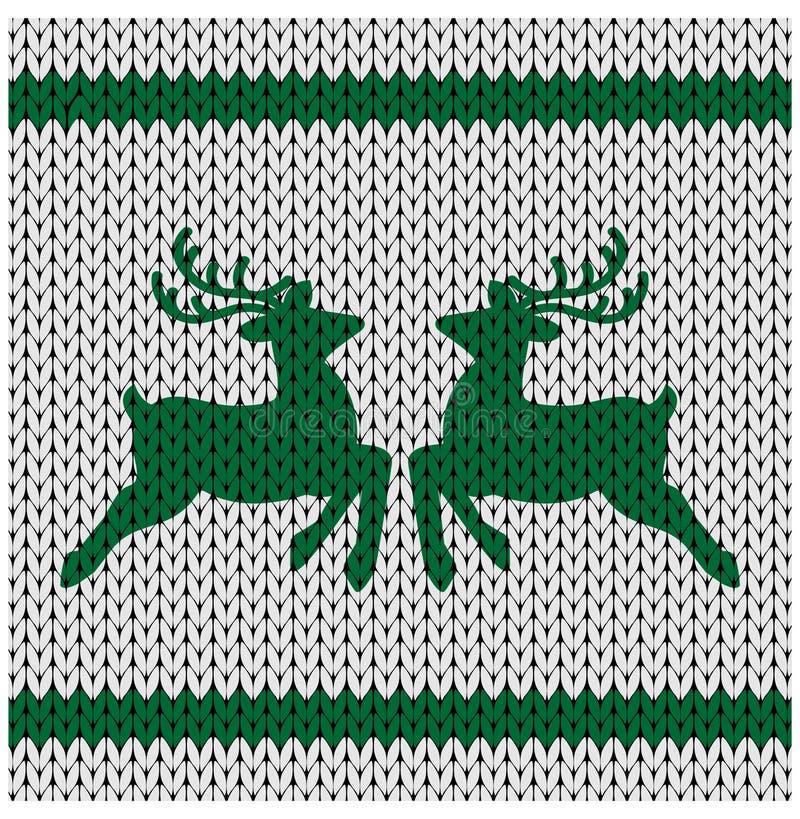 Fond tricoté avec des cerfs communs illustration de vecteur