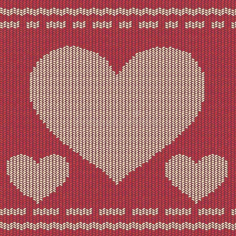 Fond tricoté avec des coeurs image libre de droits