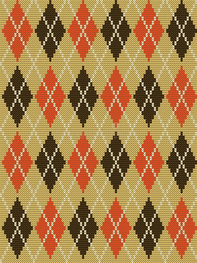 Fond tricoté dans des couleurs beiges, brunes et oranges illustration stock