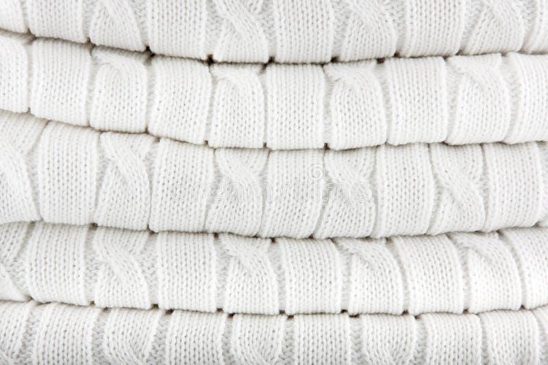 Fond tricoté par blanc photo libre de droits
