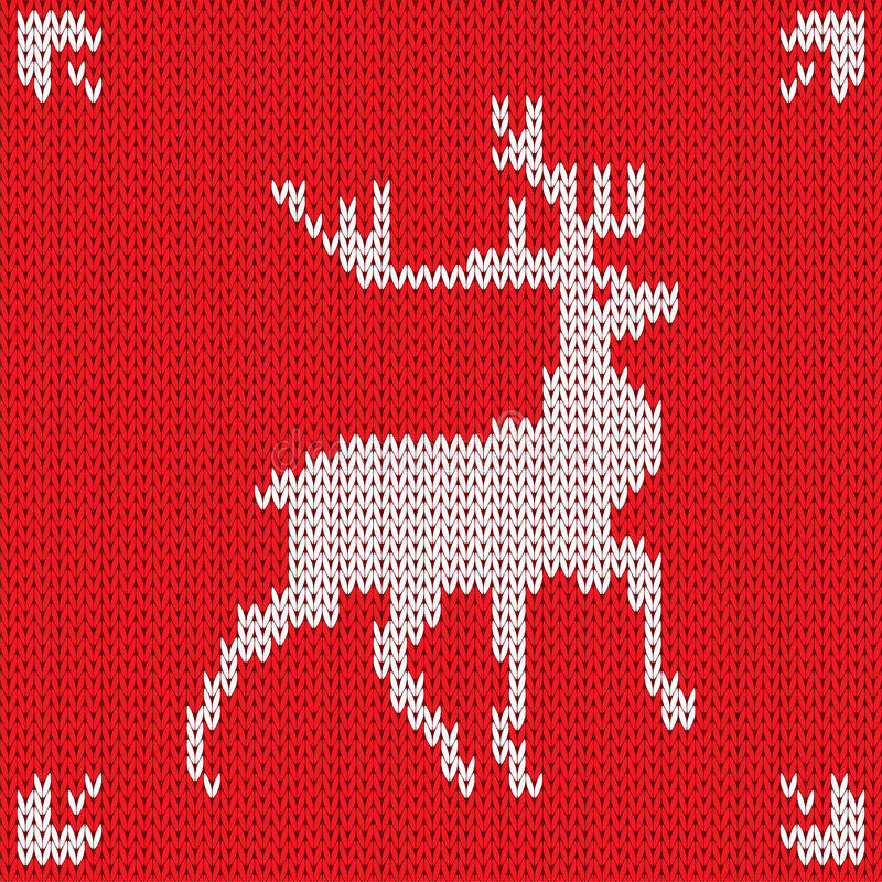 Fond tricoté par Noël avec des cerfs communs Vecteur illustration libre de droits