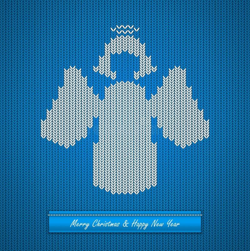 Fond tricoté par Noël avec l'ange illustration de vecteur