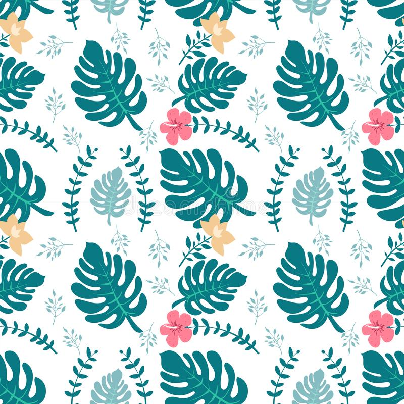 Fond tropical avec des palmettes Configuration florale sans joint Illustration d'été Copie plate de jungle illustration stock