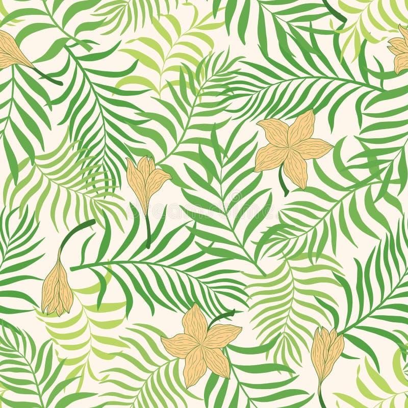 Fond tropical avec des palmettes Configuration florale sans joint S illustration de vecteur