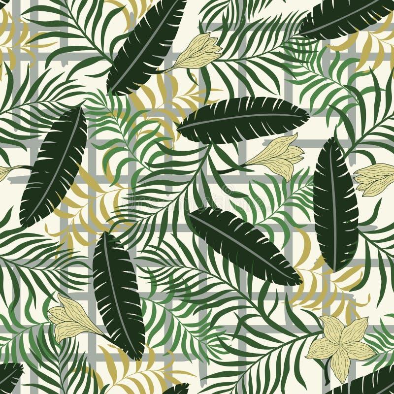 Fond tropical avec les palmettes colorées Fond géométrique illustration stock