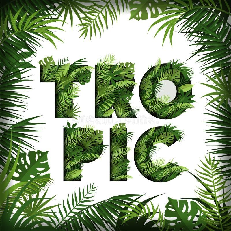 Fond tropical avec les palmettes, le monstre et les herbes Bannière avec une inscription élégante des feuilles tropicales illustration libre de droits