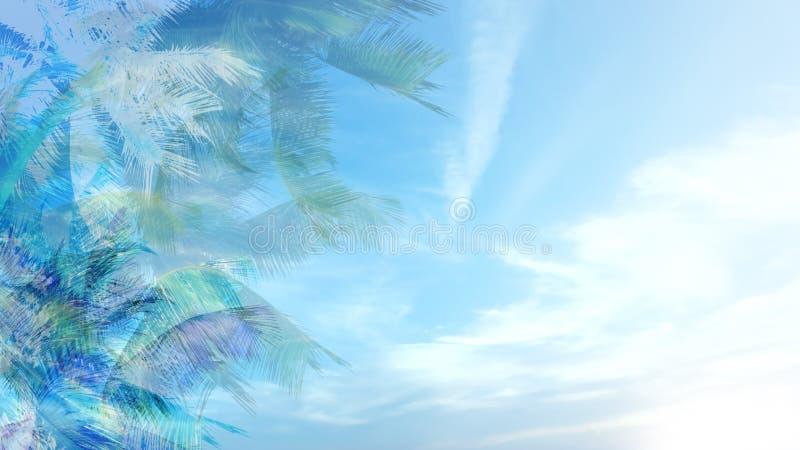 Fond tropical bleu illustration libre de droits