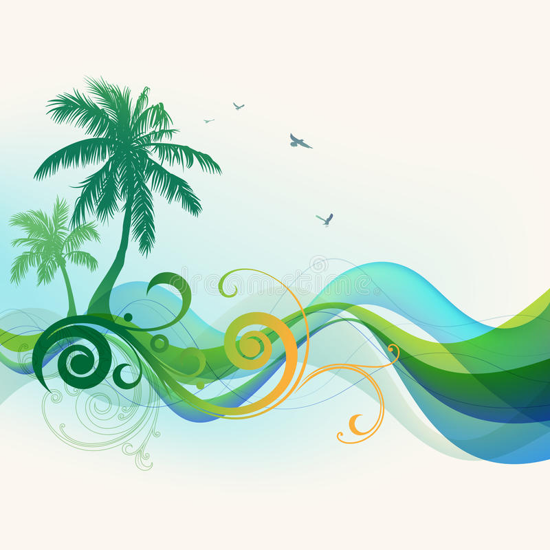 Fond tropical d'été illustration de vecteur