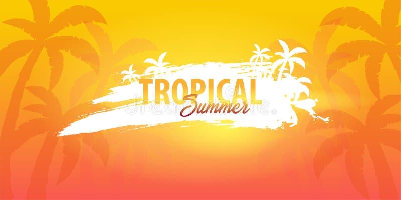 Fond tropical d'été avec des paumes et le coucher du soleil Carte d'invitation d'insecte d'affiche de plaquette d'été Jeunes adul illustration stock