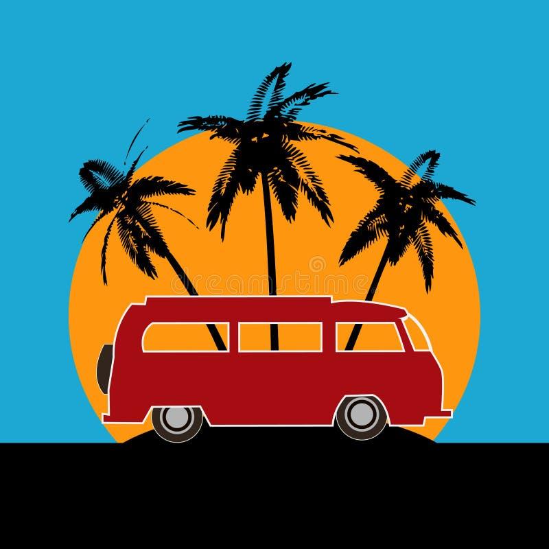 Fond tropical de camping-car illustration stock