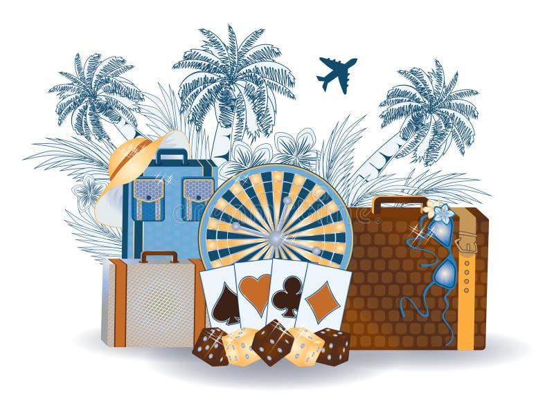Fond tropical de casino d'été de voyage illustration libre de droits