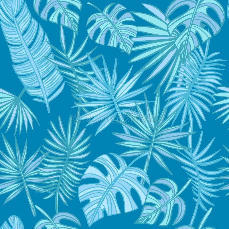 Fond tropical de feuilles Palmettes tir?es par la main sur le fond bleu image stock