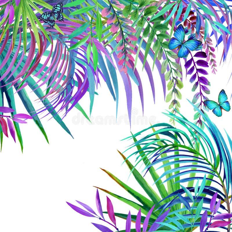 Fond tropical de nature d'aquarelle Feuilles, fleurs et papillon tropicaux illustration stock