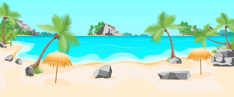 Fond tropical de paysage d'été de plage de bande dessinée Vecteur illustration stock
