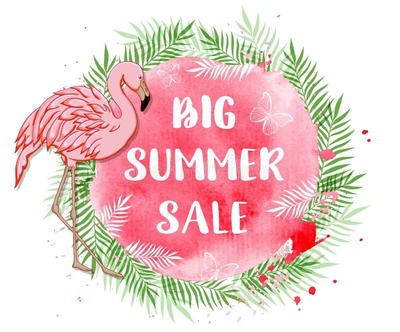 Fond tropical en vente d'été avec le flamant illustration stock