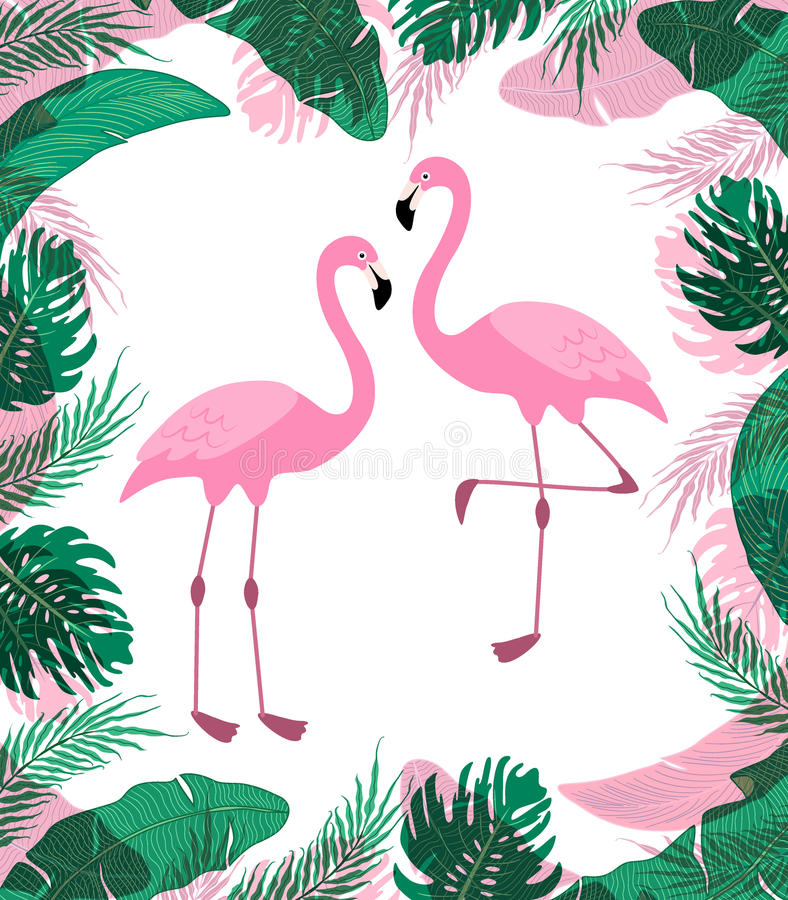 Fond tropical exotique mignon avec des personnages de dessin animé de deux flamants roses illustration libre de droits